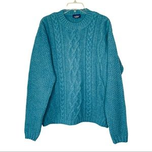 Made in the UK 100% Wool Teal Cable Knit Sweater S